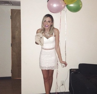skirt lace white crop tops