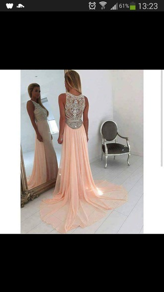 dress pink rose long long dress prom beautiful bling