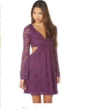 dress bell sleeve flared sleeve long sleeves v neck open back purple lace teal cut-out mystic dress