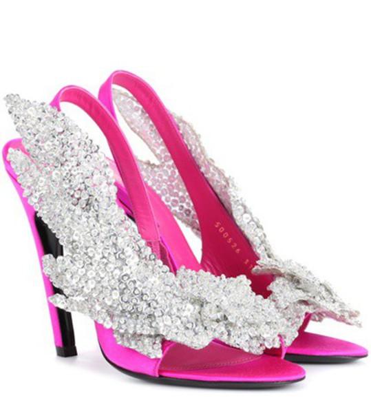 Balenciaga embellished sandals satin pink shoes