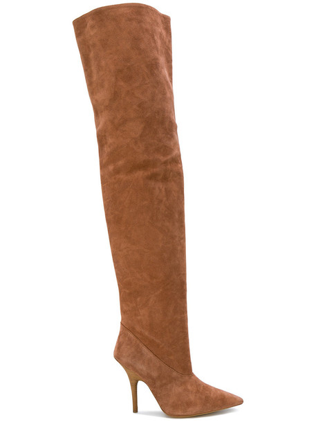 high women thigh high boots leather suede brown shoes