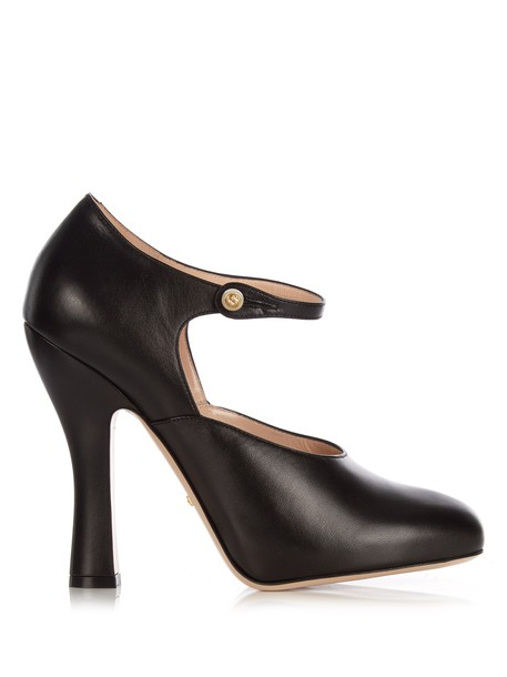gucci pumps leather black shoes