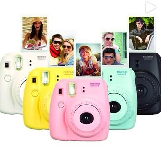 bag photoaparat yelloe yellow pink blue pictures home accessory polaroid camera mint gift ideas