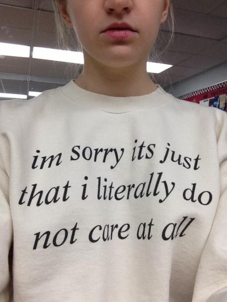 do not care white crewneck sweater