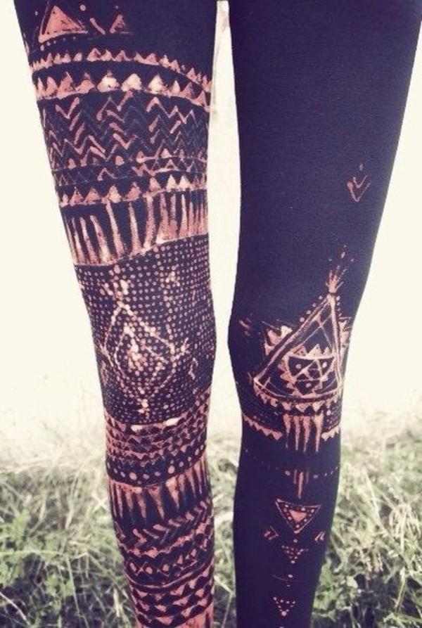 pants leggings tribal pattern tribal print leggings