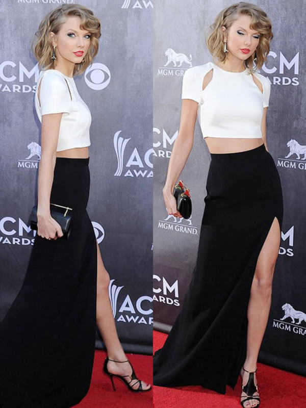 taylor swift clothes crop tops split skirt dress