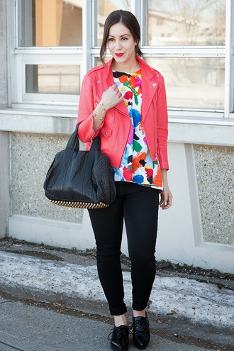 adventures in fashion blogger top leather bag red jacket perfecto