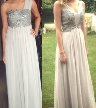 dress silver dress grey dress sequined dress sequins diamonds prom dress long dress long prom dress one strap dress floaty dress grey long dress diamante dress silver long dress dress prom 2014 prom dresses grey/silver dress