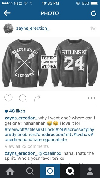 sweater grey sweater teen wolf stiles stilinski