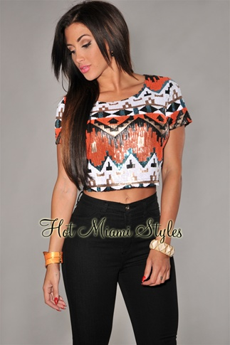 Black Sequins Multi-Color Cropped Top