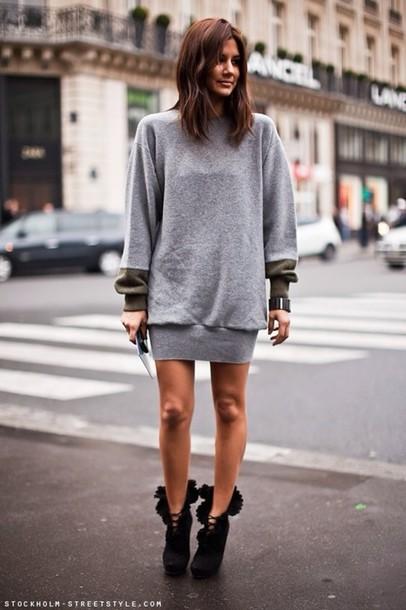Shoes High Heels Black Jumper Grey Sweater Celebrity Style Steal Celebrity Style Model