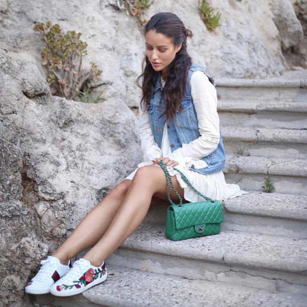 shoes gucci ace sneakers gucci gucci shoes bag green bag chanel chanel bag dress low top sneakers white sneakers floral sneakers white dress mini dress long sleeve dress vest denim vest tamara kalinic blogger