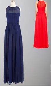 long prom dress,long bridesmaid dress,sleek prom dress,illusion neckline,blue dress,keyhole back,long formal dress,long formal dresses