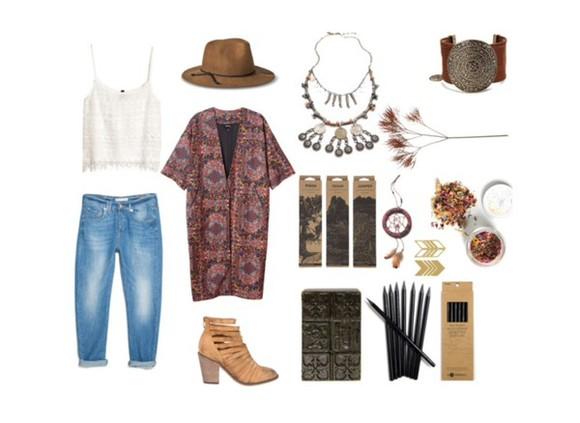 hat jeans kimono lace top dreamcatcher boots necklace