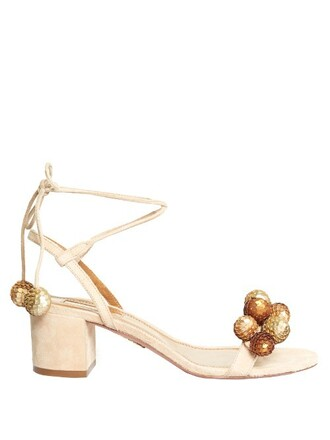 sandals suede gold nude shoes