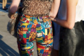 pants,colorful,high waisted,geometric