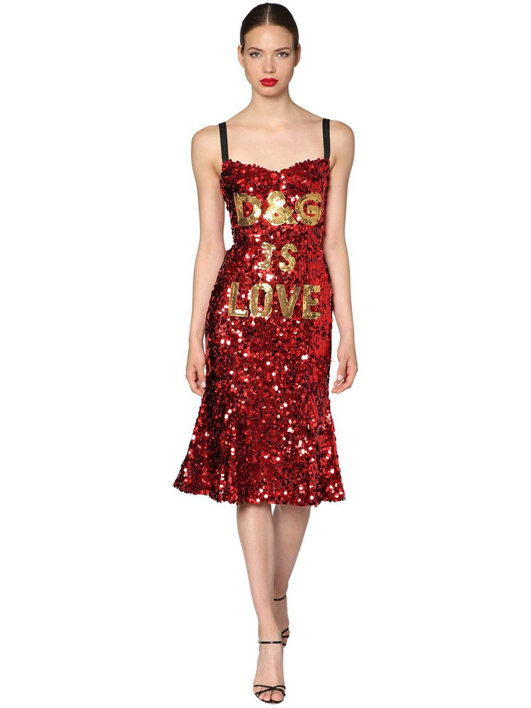 DOLCE & GABBANA D & g Is Love Sequined Midi Dress in red
