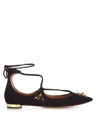 embellished bee flats suede black shoes
