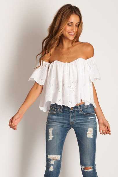 shirt white summer top jeans ripped jeans skinny jeans white blouse summer outfits blouse off the shoulder flowy strapless white crop tops crop lace boho hippie off the shoulder top peasant top white top white shirt lace top white lace top