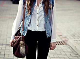 jacket denim denim jacket leggings black leggings chiffon blouse chiffon white white chiffon studded denim white sneakers