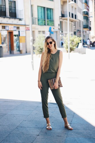 dear diary blogger jumpsuit belt shoes bag cropped jumpsuit army green  jumpsuit clutch sandals gold sandals