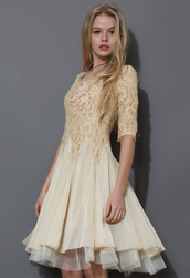 dress,ivory,pearly,home decor,mid-sleeve,lace