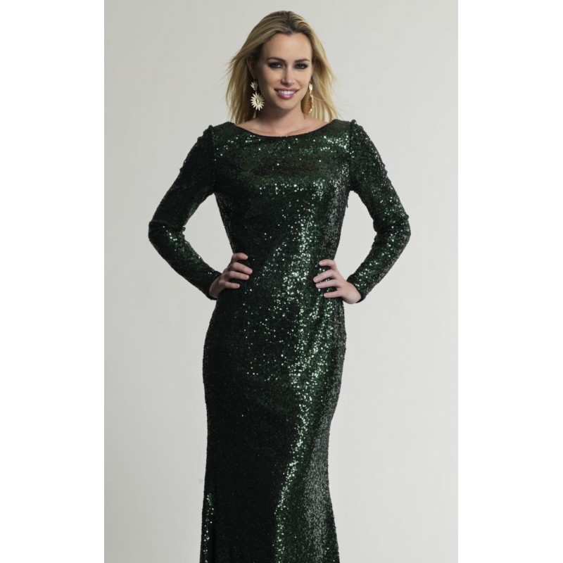 Green Sequined Long Sleeve Gown by Dave and Johnny - Color Your Classy Wardrobe