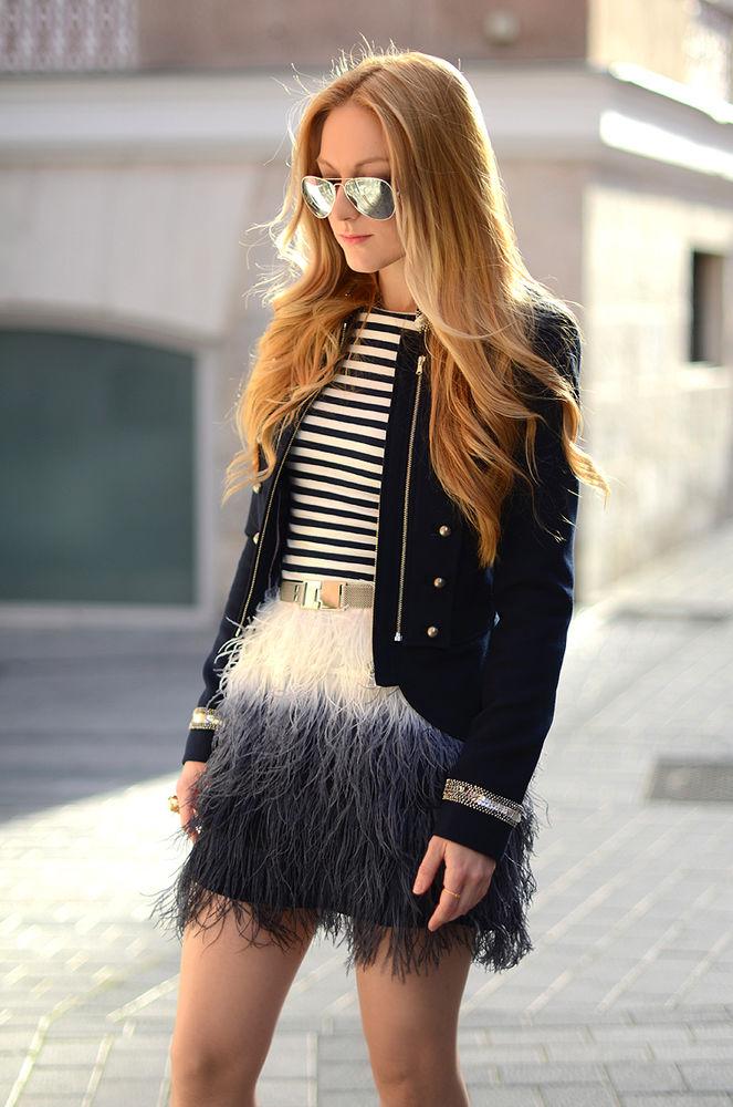 Zara Tie Dye Ostrich Feather Silk Mini Skirt Bloggers Fav