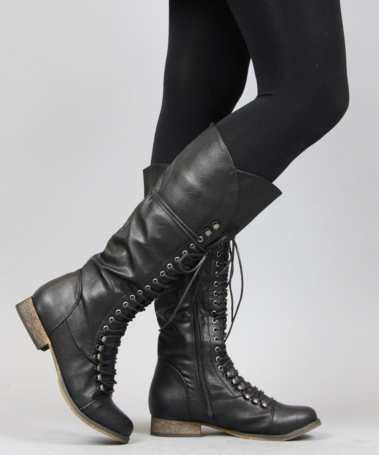 com: Breckelle Georgia-35 Lace Up Millitary Knee High Boot ...