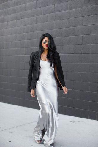 dress silver dress slip satin dress satin dress slip dress maxi dress blazer black blazer sunglasses aviator sunglasses