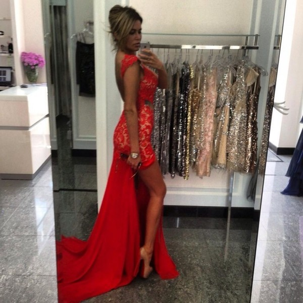 dress red dress lace dress lace prom gown gown prom dress high heels high-low dresses slit dress sexy hot long prom dress long red dress maxi dress sexy dress