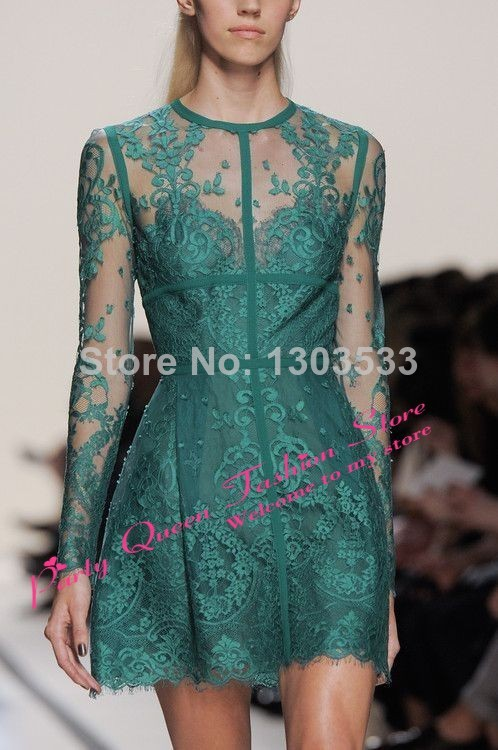 2014 New Arrival Tulle Straight Lace Mini Sexy Elegant Emerald Green Modest Short Elie Saab Prom Party Gown Cocktail Dresses-in Prom Dresses from Apparel & Accessories on Aliexpress.com
