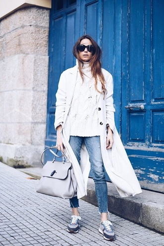 coat white coat sweater white sweater knit blue jeans sunglasses sneakers trench coat knitwear jeans denim