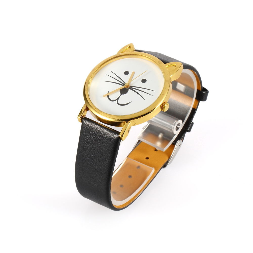 Lovely Cute Cat Face Shape Girls Dial Gold Rim Beard Alloy PU Leather Watch SK | eBay