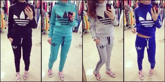 mint sweater blue jacket adidas jumpsuit tracksuit pants sweatsuit zip collar sporty chic jersey