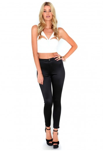 Bronwen button front shiny disco pants in black