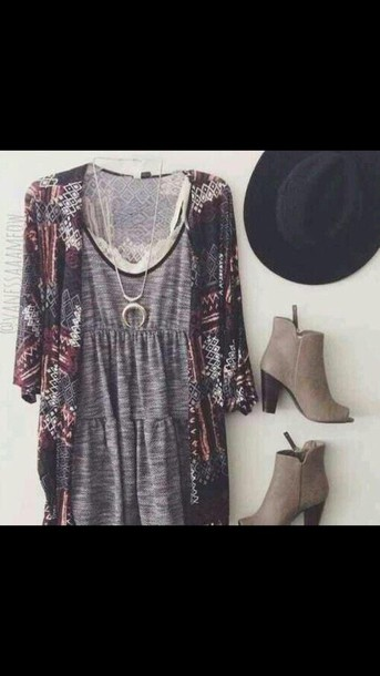 shirt cardigan top tank top lace top necklace shoes boots high heels sweater dress hat shorts grey dress boho dress boho chic short dress summer dress aztec sweater grey boho hipster kimono summer blouse brown neutral heels dodie clark indie