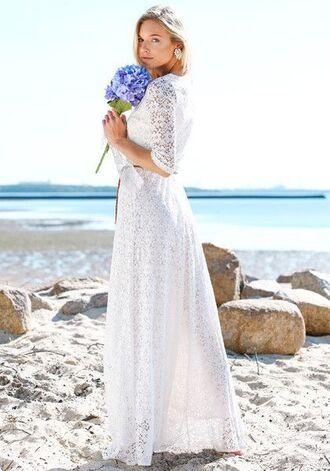 dress lace maxi lace dress white beach