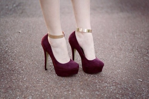 shoes high heels pumps pretty maroon gold classy elegant stiletto model beautiful shoes