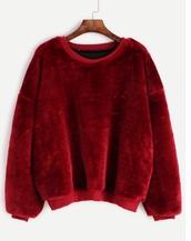 sweater,stuffed animal,fur,burgundy,comfy