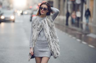 carolina krews blogger faux fur grey sweater dress cat eye cardigan