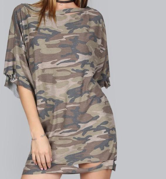 21d102e64be04 dress, oversized, t-shirt, t-shirt dress, camouflage - Wheretoget