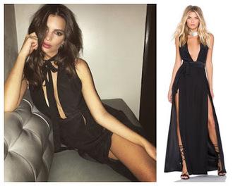 dress slit dress prom dress gown black black dress emily ratajkowski instagram