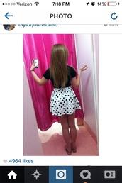 skirt,polka dot skirt,highwasted bottoms,skater skirt