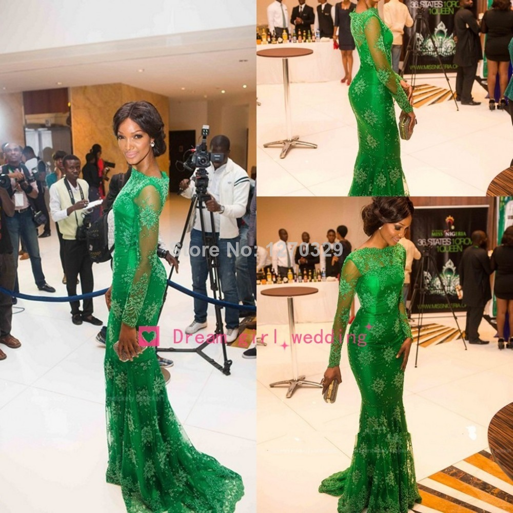 2014 New Arrival Red Carpet Miss Nigeria Mermaid Long Sleeves Green Lace Celebrity Inspired Dress Evening Prom Dresses Elegant-in Celebrity-Inspired Dresses from Apparel & Accessories on Aliexpress.com
