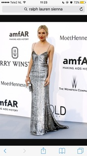 dress,celebrity,silver,slip dress,amfar,ralph lauren