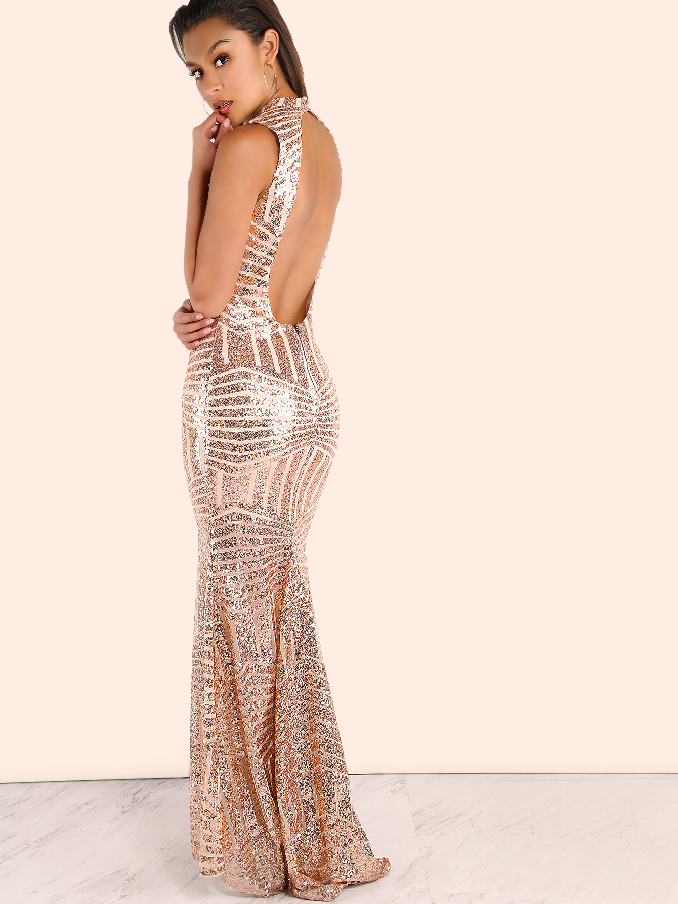 100d7080a4 Sequin Open Back Maxi Dress BLUSH -SheIn(Sheinside)