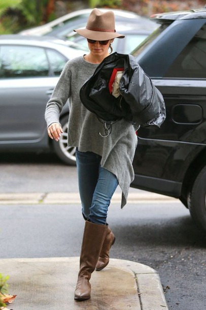 sweater nikki reed fall outfits boots shoes