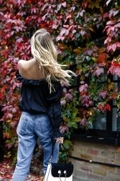 top,tumblr,blue top,long sleeves,off the shoulder,off the shoulder top,denim,jeans,blue jeans,mom jeans,bag,black and white,j w anderson,blonde hair,long hair,JW Anderson bag