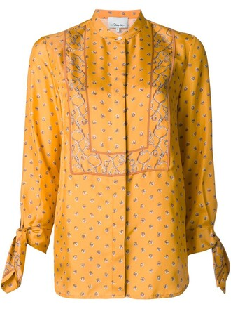 blouse print yellow orange top